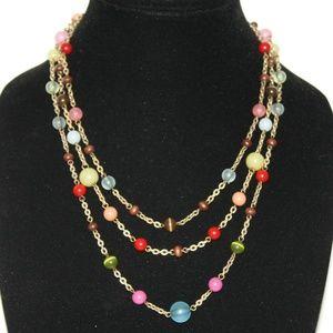 STUNNING vintage colorful gold necklace adjustable